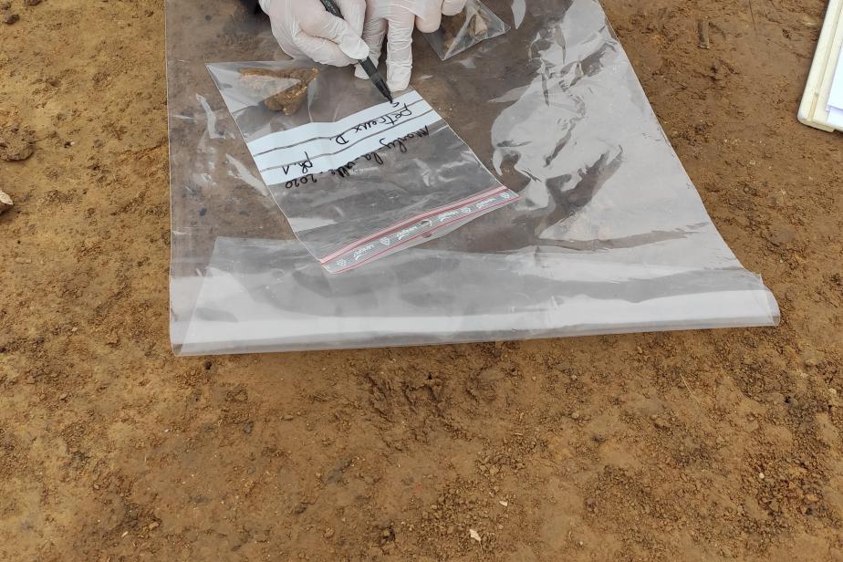 Prélèvements sur les fouilles de Marly-la-Ville (95). Indications des informations concernant l'échantillon sur le sac à fermeture zip le contenant